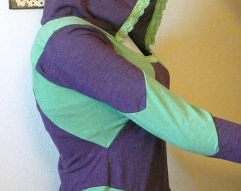 Green and Purple Racer Patches Long Sleeved Hoodie