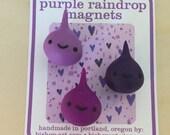 Purple raindrop magnets