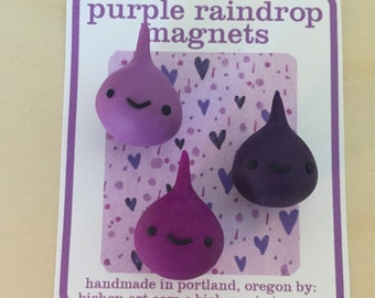Purple raindrop magnets
