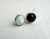Opal and Onyx Opposite Studs in Sterling Silver