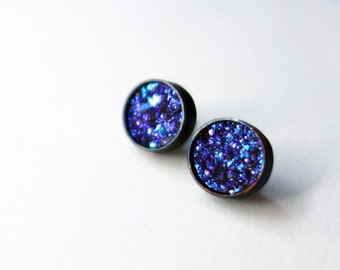 Blue Druzy Studs in Oxidized Sterling Silver Bezels