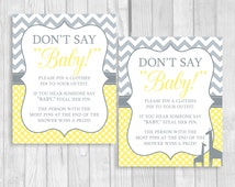 Printable Don't Say Baby! 8x10 Clothes Pin Game or Pacifier Necklace Baby Shower Game Gray Chevron & Yellow Polka Dots - Giraffes Optional