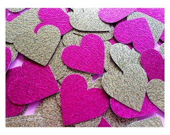 100+ Hot Pink and Gold Glitter Heart Confetti - Wedding, Bridal Shower, Birthday, Baby Shower, Scrapbooking