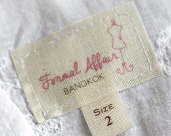 Light thin cotton labels personalized sew in cotton labels vintage look clothing labels PRE-CUT 100 pcs