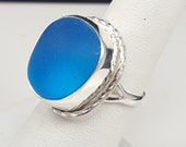 Cobalt Blue Sea Glass Ring Sea Glass Jewelry Blue Sea Glass Ring Sterling Silver Ring Blue Beach Glass Size 7 1/2  - R-082