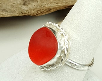 Red Sea Glass English Sea Glass Ring Red English Sea Glass Red Beach Glass Sea Glass Jewelry Ring Size 8 - R-093