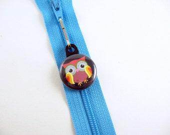 Owl, Zipper Pull, Zipper Charm, Black, Brown, Bird