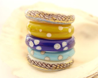 5 Handmade Lampwork Ring Beads