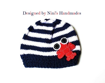 Knit Baby Navy and White Beanie with LOBSTER, baby Hat, crochet hat, boys hat, boys clothing, birthday gift, baby shower gift, striped hats