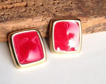 Vintage Earrings, Red Earrings, Red Enamel Earrings, Rectangular Earrings, Enamel and Base Metal Earrings, Etsy, Etsy Vintage, Post Earrings