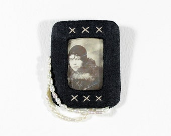 Embroidered Mixed Media Brooch - Vintage Portrait and Freshwater Pearls