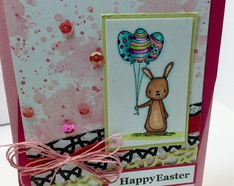 Easter Card - Easter Bunny Card - Happy Easter Card - Hand Colored Easter Card