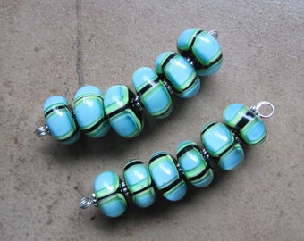 Lampwork Beads - SueBeads - Disc Bead Set of Six - Blue and Green Color Block - Bracelet or Necklace Bead Set - Lampwork Beads - SRA M67