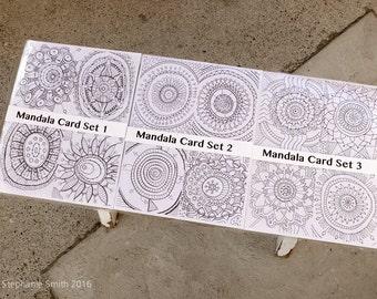 24 Mandala Postcards for Coloring Meditation Original Hand Drawn Designs FREE US SHIPPING
