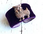 Dog Lover Adjustable Cuff in Aubergine Silk Velvet