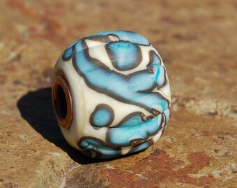 Flutted Western Graffiti - K O Lampwork Beads - brass cored lampwork bead for Add A Bead European Style Chains