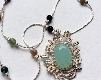Jade pendant, Floral necklace, silver necklace, gemstones necklace, beaded necklace, botanical, green stone pendant - Spring Flowers  N2009