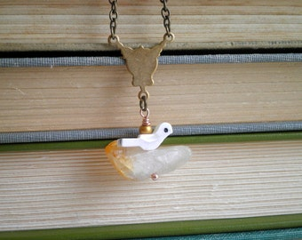 Bohemian Bird Necklace by So Very Charming. Vintage Mother of Pearl Bird & Raw Citrine Rustic Glam Charm Necklace. Boho Chic Nature Jewelry