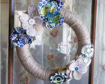 "Twine Wreath, Jute, Rustic Wreath, Handmade Cloth, Front Door Country, Burlap Flower Accents, Hand Wrapped Jute 12"" Wreath, READY To SHIP"