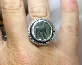 Statement Ring , Ancient Greek Coin and Sterling Silver Ring, ancient coin jewelry, Aries horoscope ring