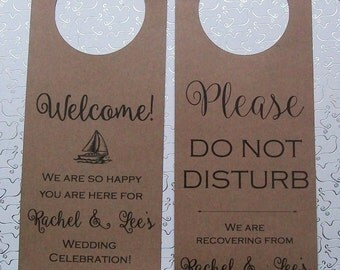 Hotel Door Hangers - NAUTICAL - Brown Kraft Paper - Double Sided for Out of Town Wedding Guests - Do Not Disturb - Sail Boat - Sailboat