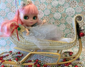 Holiday  SALE!!!.. Vintage  Christmas  Sleigh and Reindeer .. Super Fun for Blythe...Wicker Sleigh .. Holiday  Decor