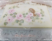 Jewelry Keepsake Wood Box,Hand Painted Pink Cottage Roses with Chickadee, side Stripes and inside Accents, ECS
