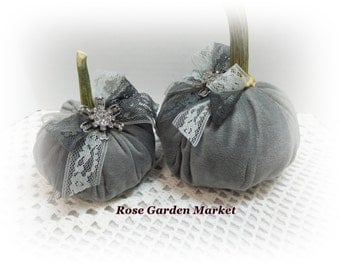 Grey Velour  2pc Pumpkin Set with Real Pumpkin Stem,Lace and Trims, Fall  Home Decor, ECS