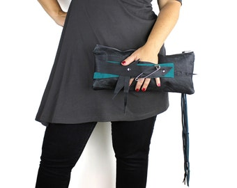Black & Teal Leather Wrist Clutch with Punk Safety Pin