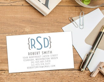 Modern Monogram Calling Card Set of 50 or 100, Business Cards, Custom Business Cards, Custom Calling Cards, Monogram Parenthesis Cards