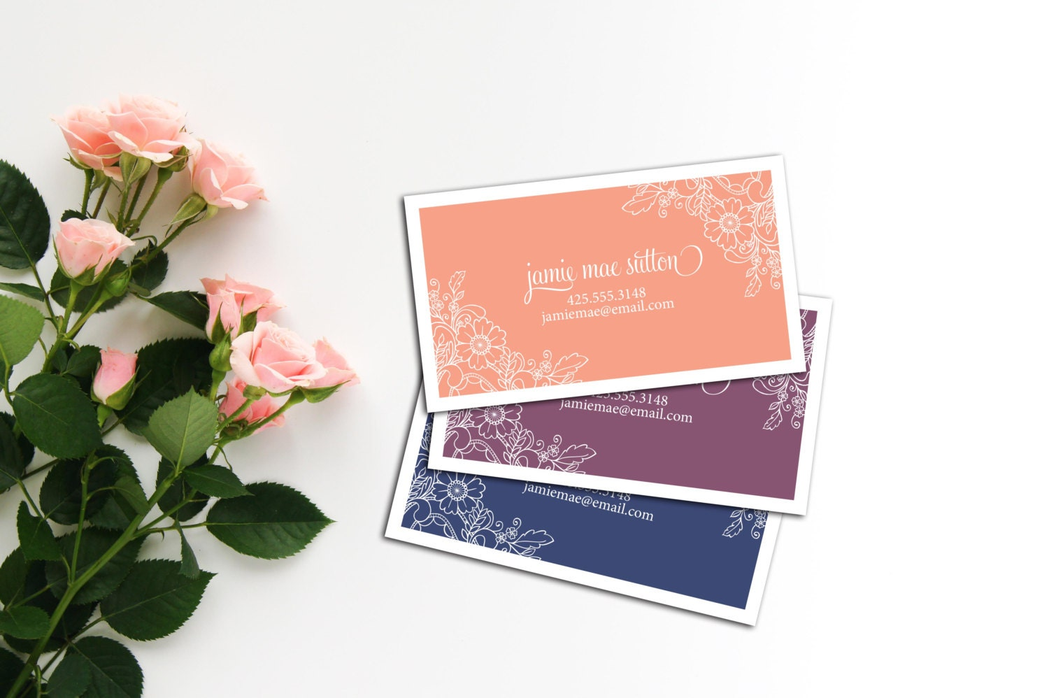 Floral Lace Calling Card, Business Cards, Set of 50 Cards, Set of ...