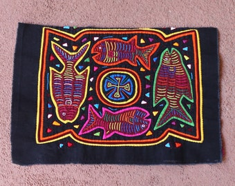 Four Fish Mola Half, Perfect For a Sewing Project  - Kuna Indian Handmade Indigenous Textile Art