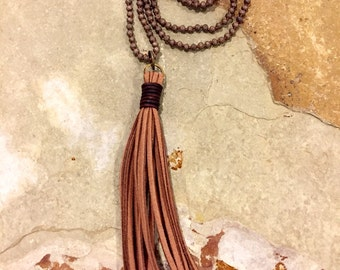 Leather tassel necklace with a bronze chain
