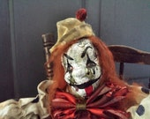 Creepy Clown Repaint, Upcycled Clown doll, Horror Doll, Halloween clown, Clown art