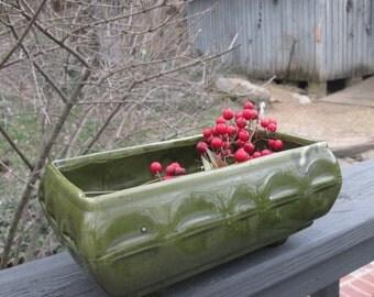 Large Olive Green Vintage Planter/ Flower Pot - Cookson Pottery USA