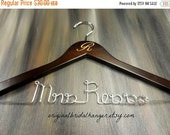 SALE 20% OFF Monogrammed Personalized Hanger Engraved Wedding Dress Hangers Brown Wood Silver Aluminum Wire Wedding Photo Props