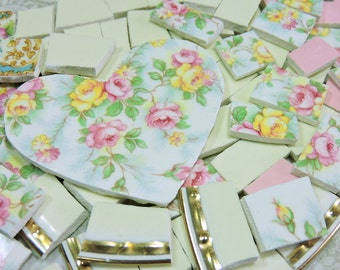 China Mosaic Tiles - PeRFeCTLY LoVeLY RoSeS & HeART - Broken Plate Mosaic Tiles