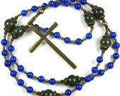 Lutheran Rosary Prayer Beads in Blue and Green