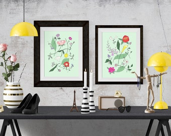 Botanical Flora Decorative Illustration Art Poster. Discounted Set of 2