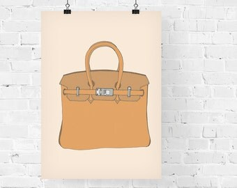 Hermes Birkin Brown Fashion Illustration Art Print