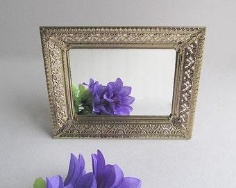 Vintage Mirror Vanity Filigree Mirror Hollywood Regency Free Standing Mirror