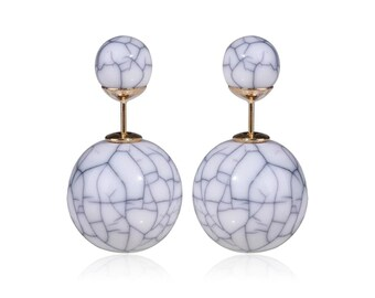 Marble Double-Stud Earrings