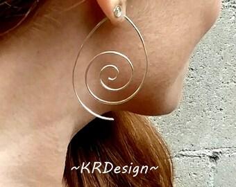 Sterling Silver-Swirl-Spiral-Hoop Earrings / Free US Shipping