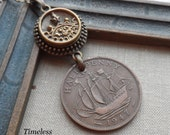 Tall Ship, 1947 Half Penny Vintage Coin Necklace with Antique Button