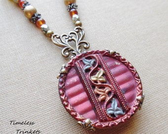 Autumn's Splender Antique Button Necklace with Vintage and Czech Glass, One of a Kind Design, Beautiful and Unique