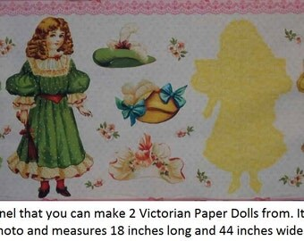 fabric panel to make 2 VICTORIAN PAPER DOLLS - Amelia and Philomena - from the Chester County Historical Society