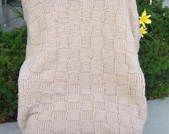 Super Sale - Lace Checkerboard Basket - 35 inch x 45 inch ~ Knitted Baby-Lap Blanket -  FREE SHIPPING