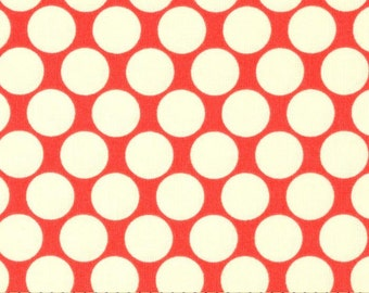 Full Moon Cherry - Lotus - FreeSpirit - Amy Butler - Red and White Polka Dot Quilting Fabric