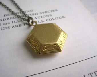 Hexagon Locket in golden brass - scroll detail and fine chain - geometric keepsake - SALE