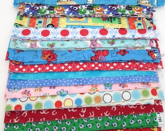 Fabric Strips for Quilting 3.25 inch - Cotton Fabric Strips - Grab Bag - Destash - Cartoon Characters - Kids